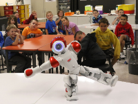 First and second graders meet Syd the Robot