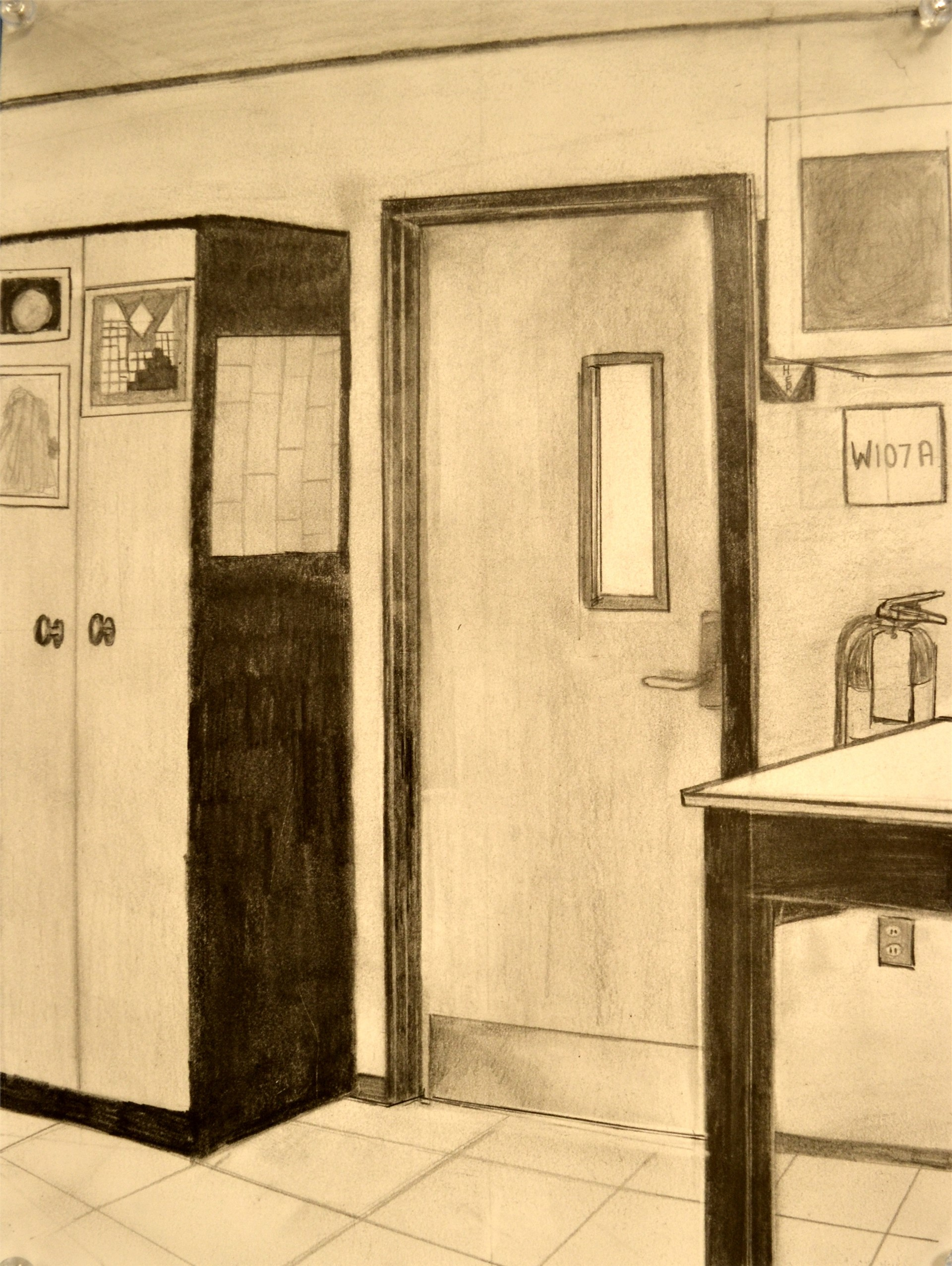 PIPER UMBRA, Kiln Room Door, graphite, 12 x 9, 2015