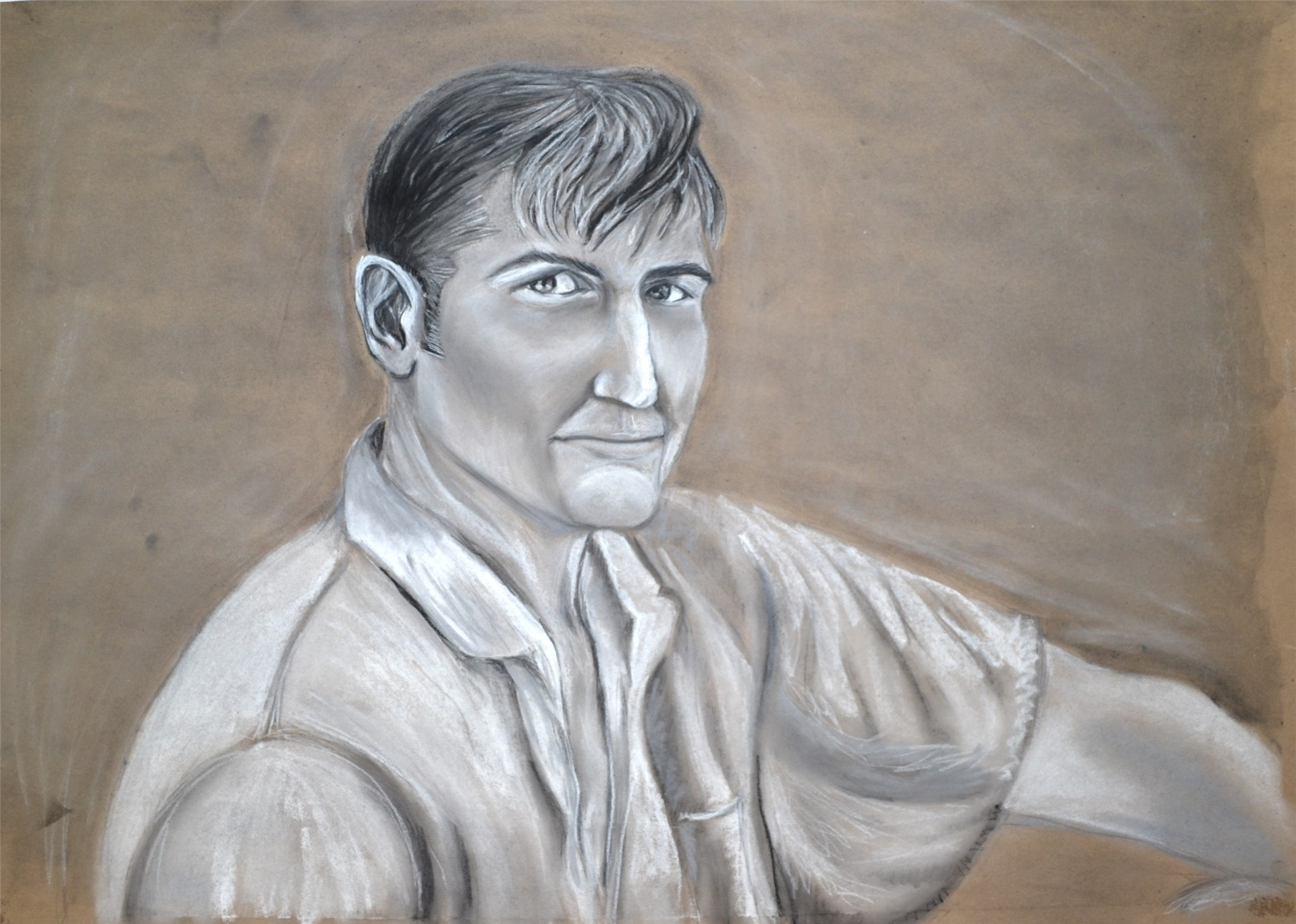 RACHEL HOUCK, Grandpa, charcoal & pastel on kraft paper, 24 x 33, 2015