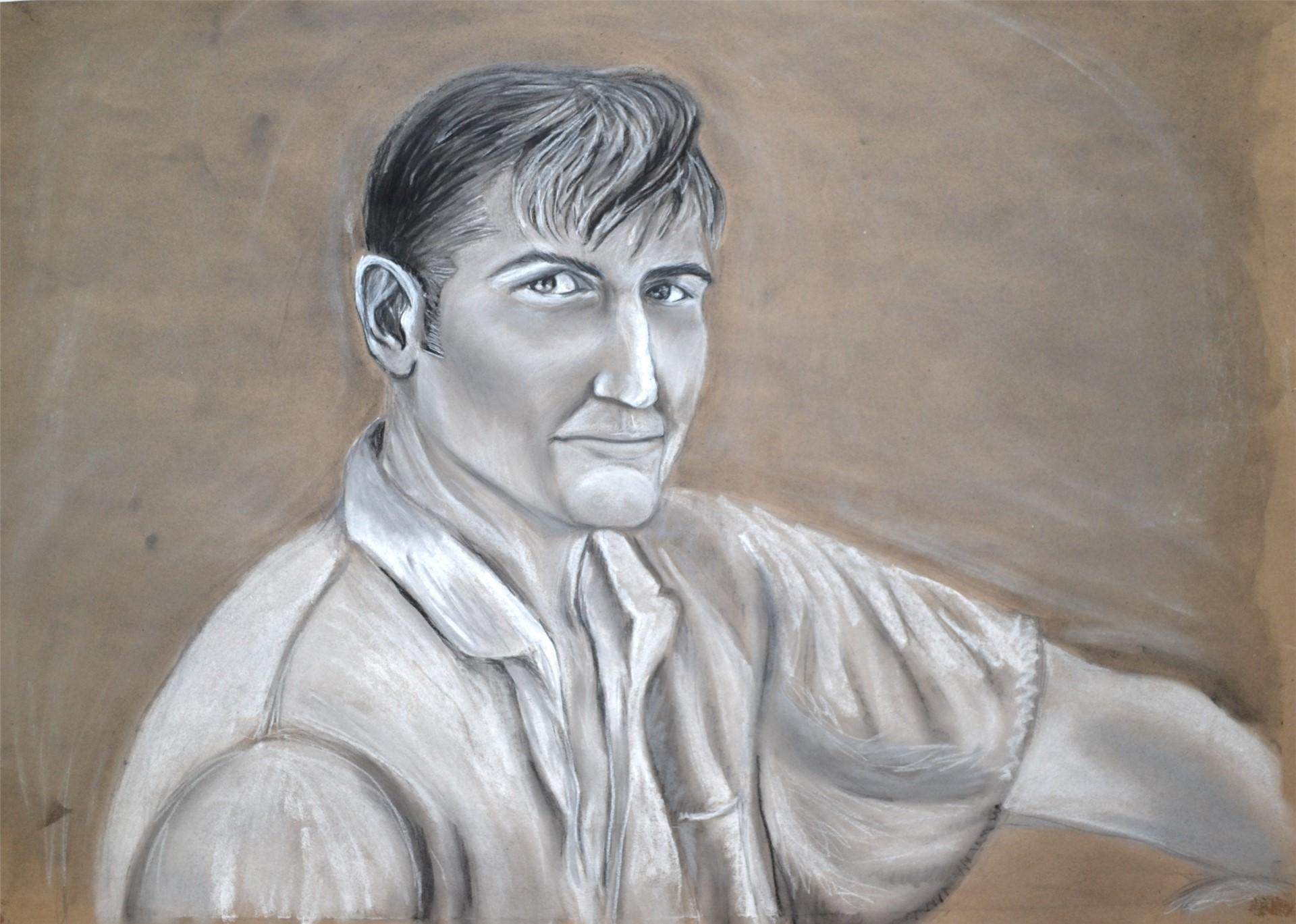 RACHEL HOUCK, Grandpa, charcoal & pastel on kraft paper, 24 x 33, 2015