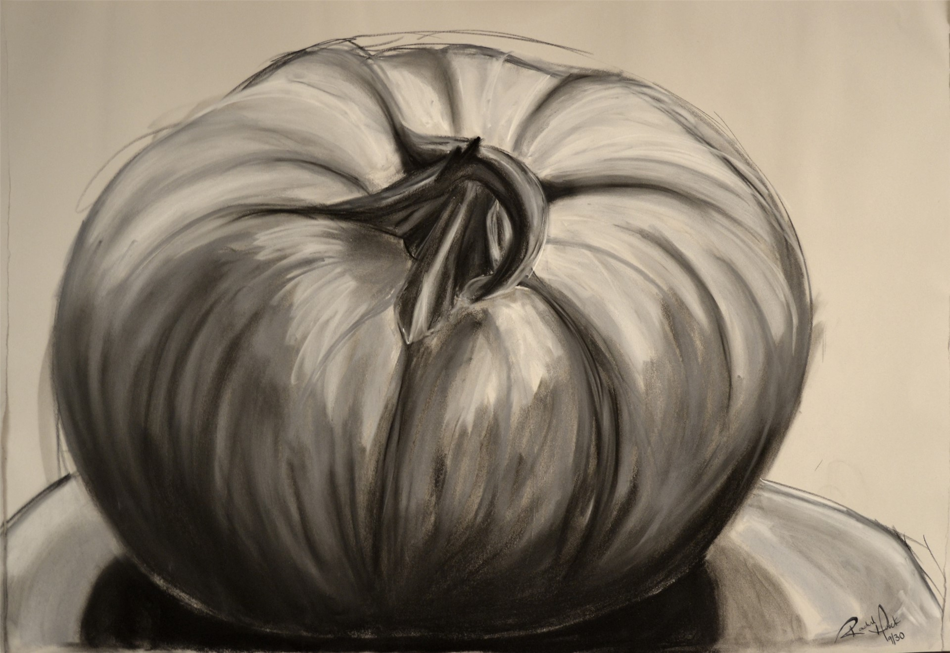 RACHEL HOUCK, Pumpkin, charcoal &pastel on newsprint, 24 x 36, 2014