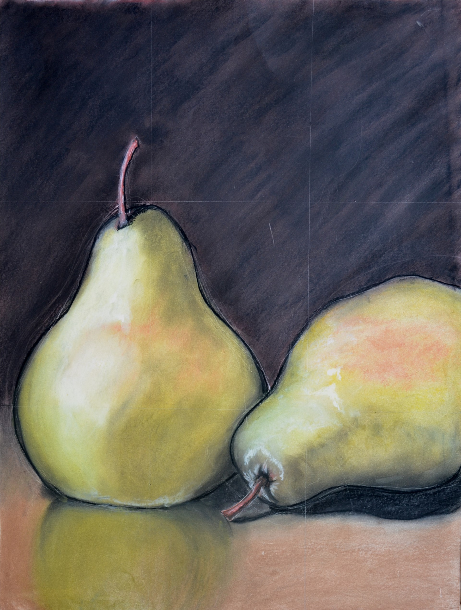 TAYLOR BOCK, Two Pears, pastel, 24 x 18, 2015