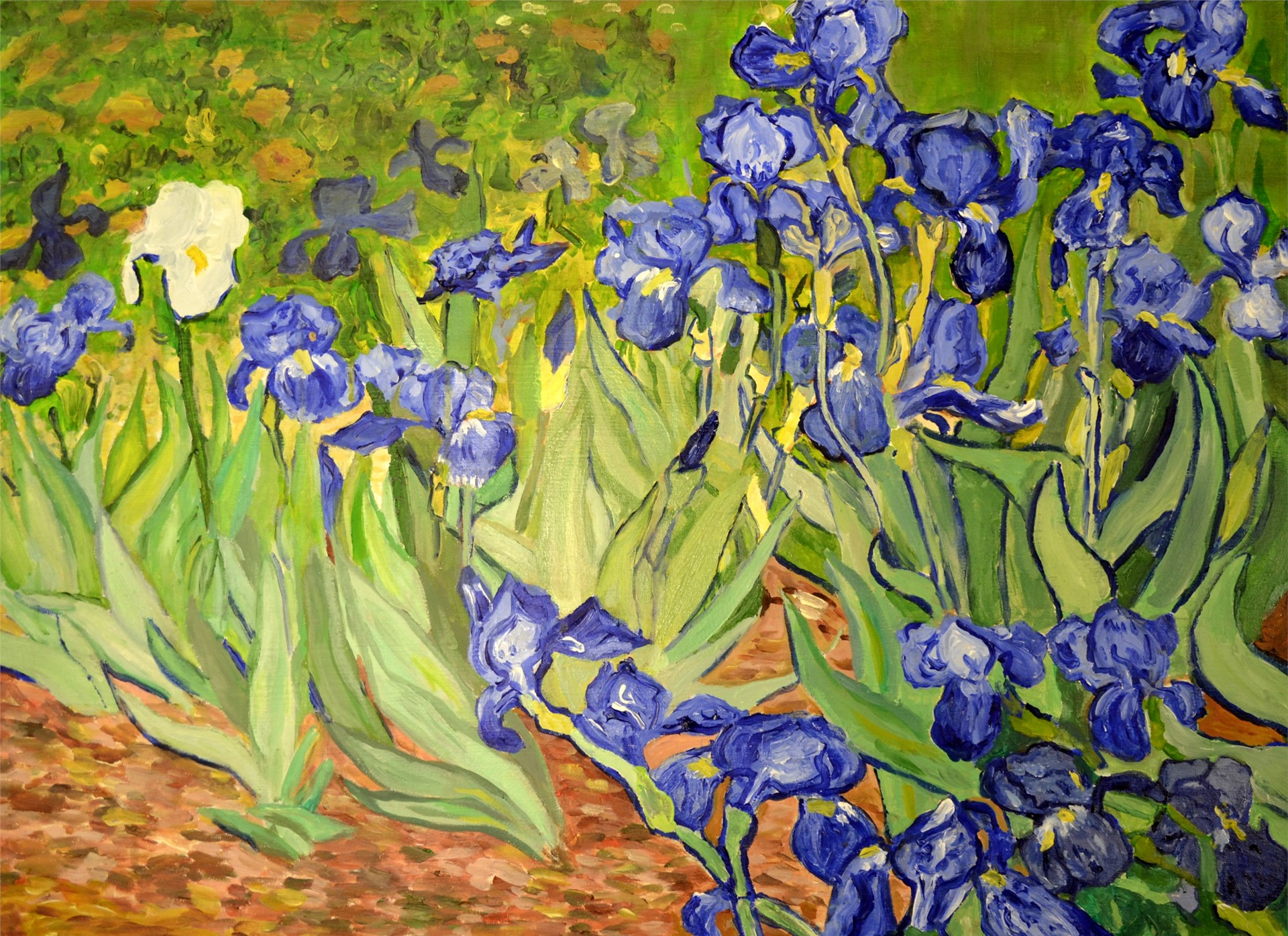 Amanda Rivers after Van Gogh, Irises, acrylic, 22 x 30, 2016