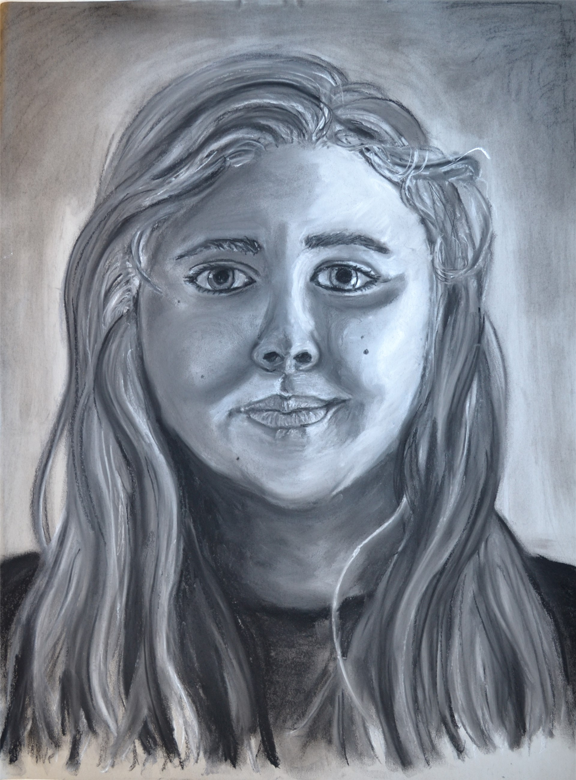 Amanda Rivers, Self Portrait, charcoal, pastel, on gray bogus, 24 x 18, 2016