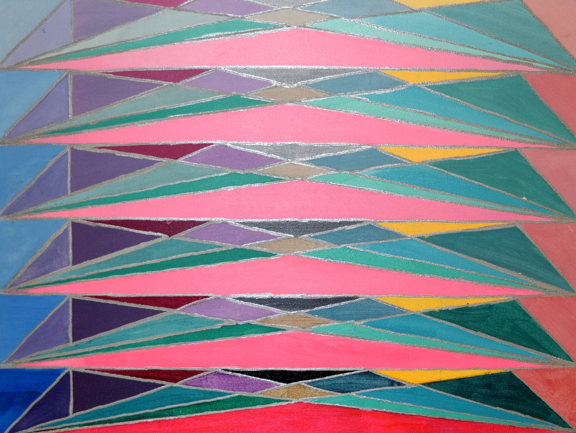 Dakota Cotton, Triangular Triangles, acrylic on canvas board 12 x 16, 2016