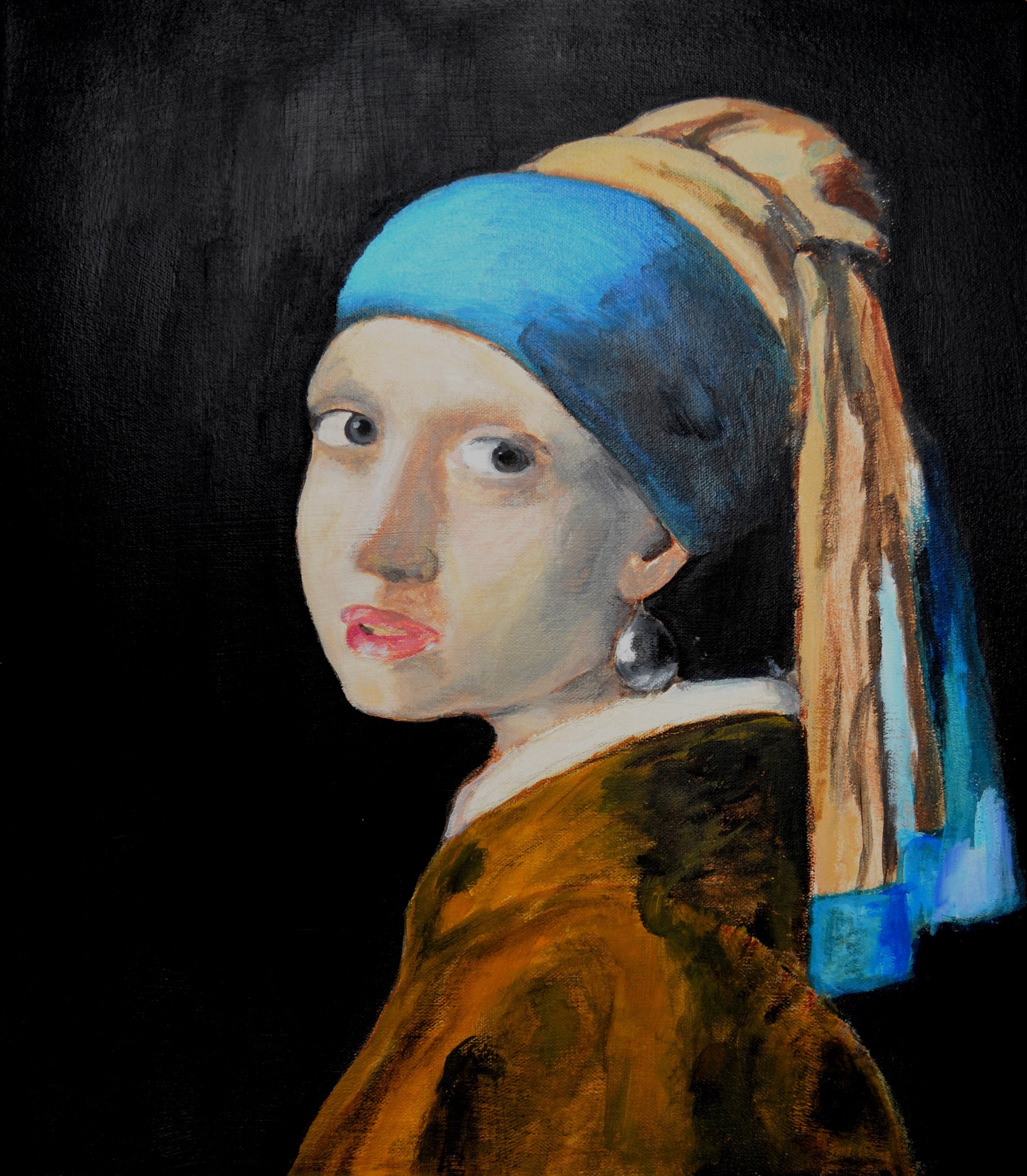 Mallory Stillman after Vermeer, Girl with a Pearl Earring, acrylic on canvas, 2016