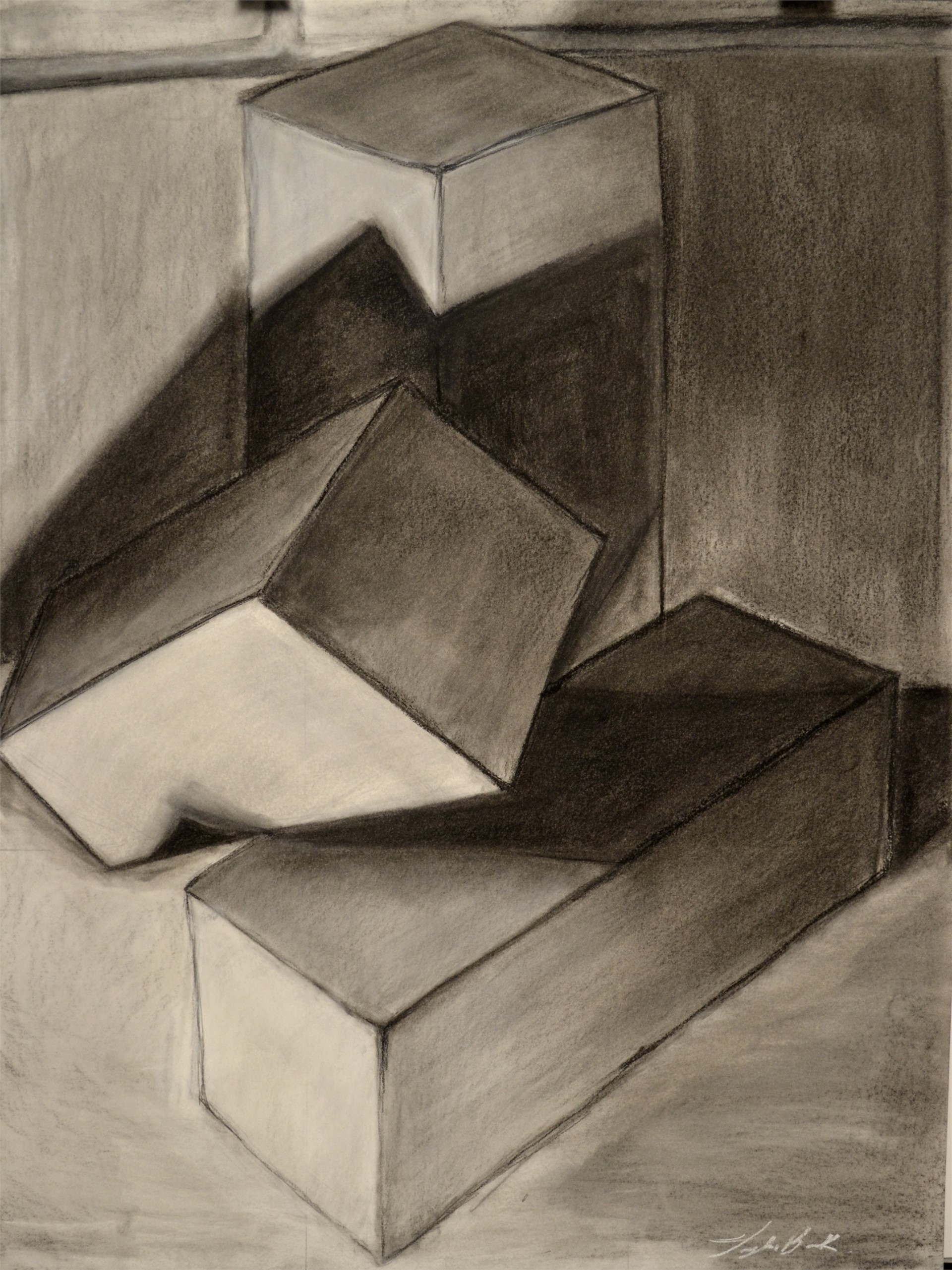 Taylor Bock, Rectilinear Prism Still-Life, charcoal, 24 x 18, 2015