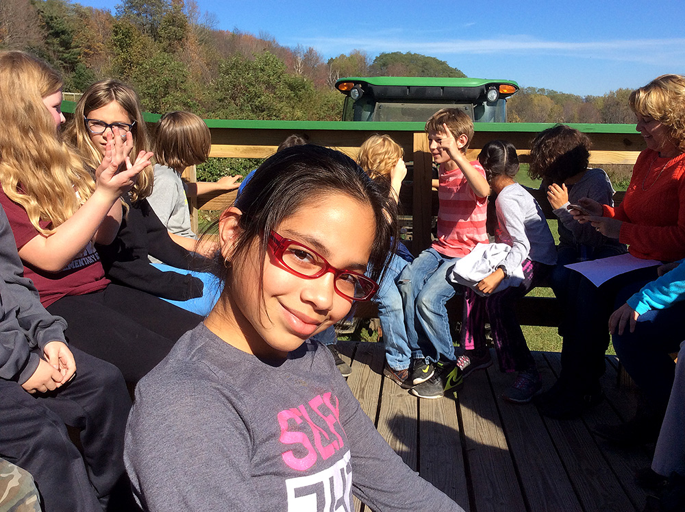 Students during a day of apple picking