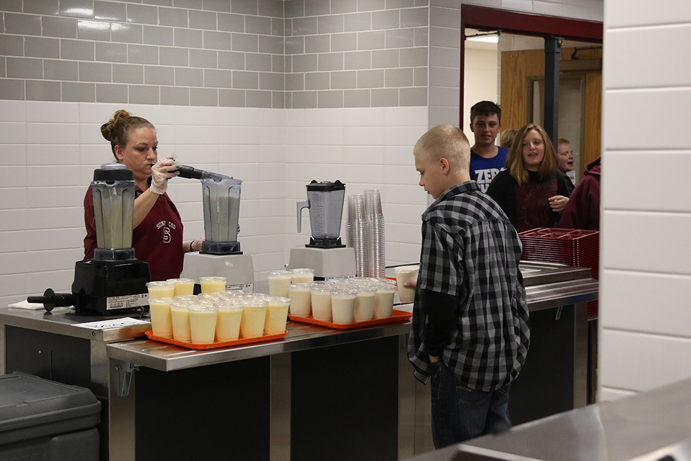 smoothie station in new kitchen/cafeteria at high school