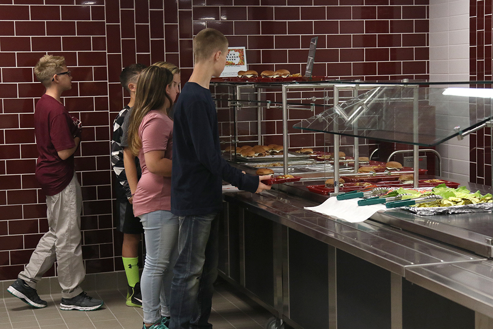 Food line in new kitchen/cafeteria at high school