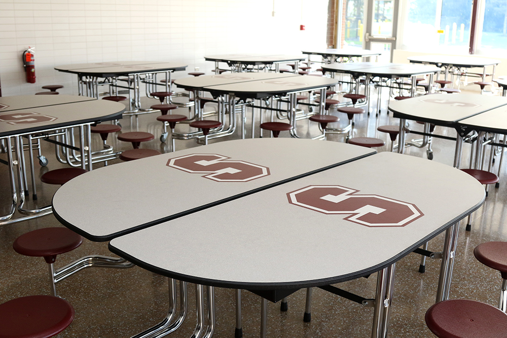 New tables at high school cafeteria