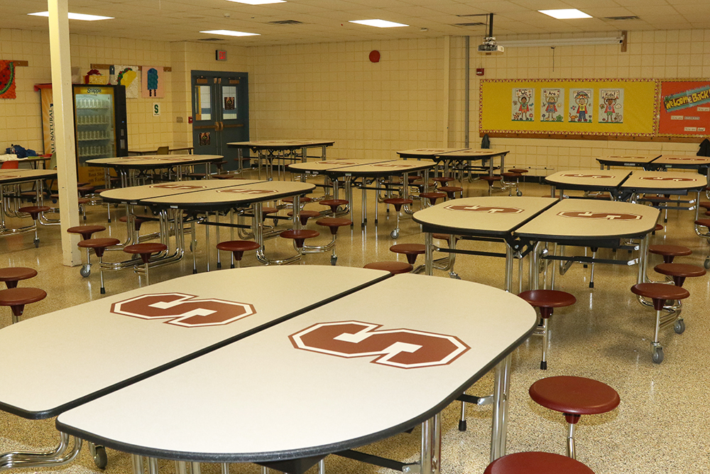 New tables at elementary cafeteria