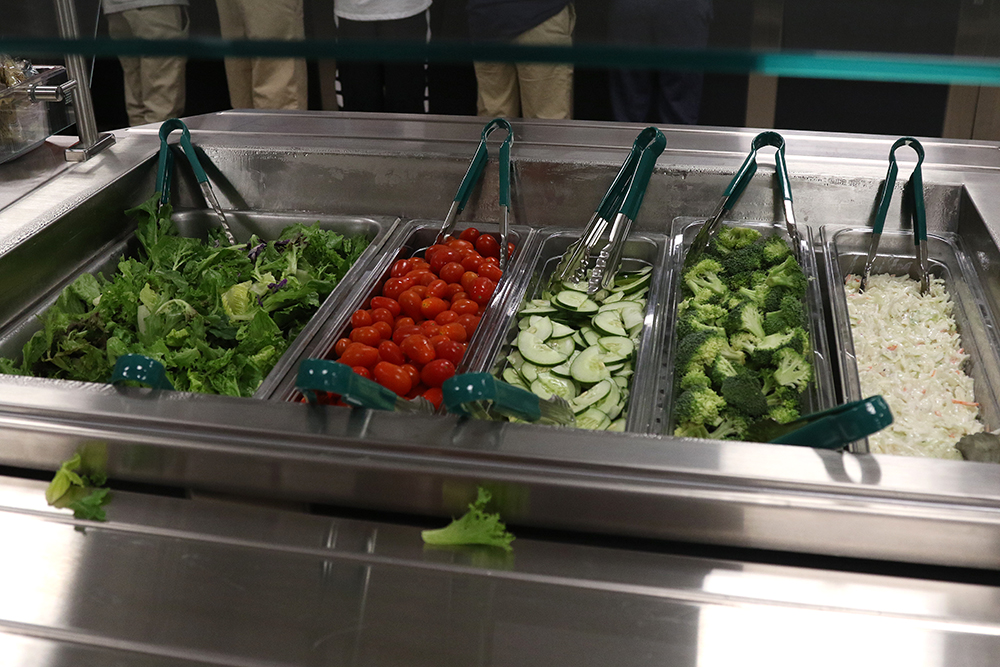 Salad bar in new kitchen/cafeteria at high school
