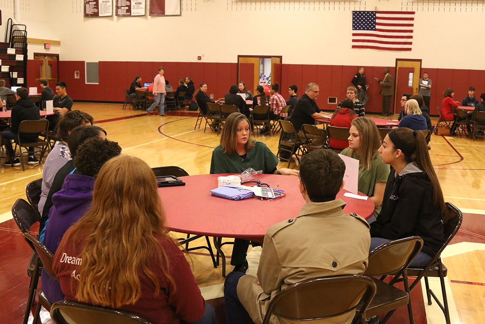 Students receive information during the third annual Alumni Career Day