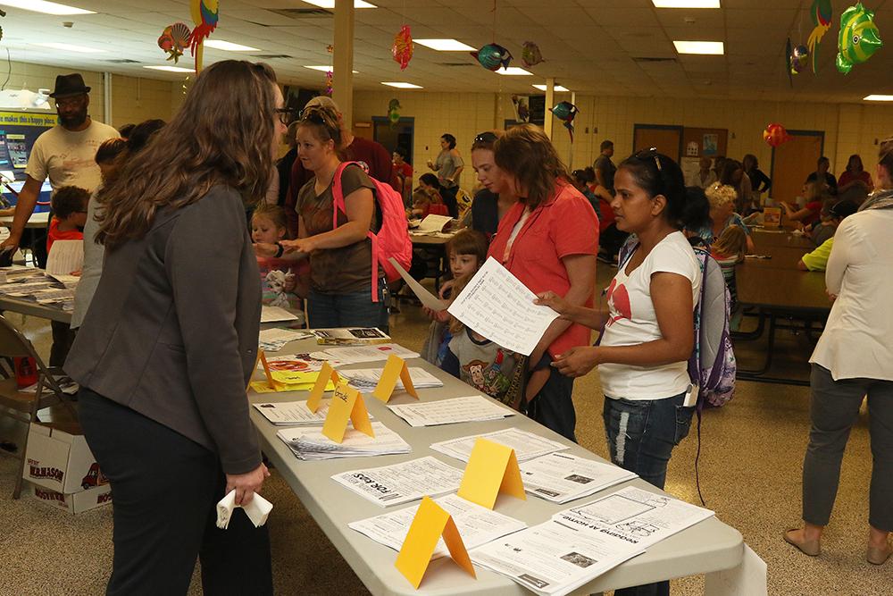 Community members getting information