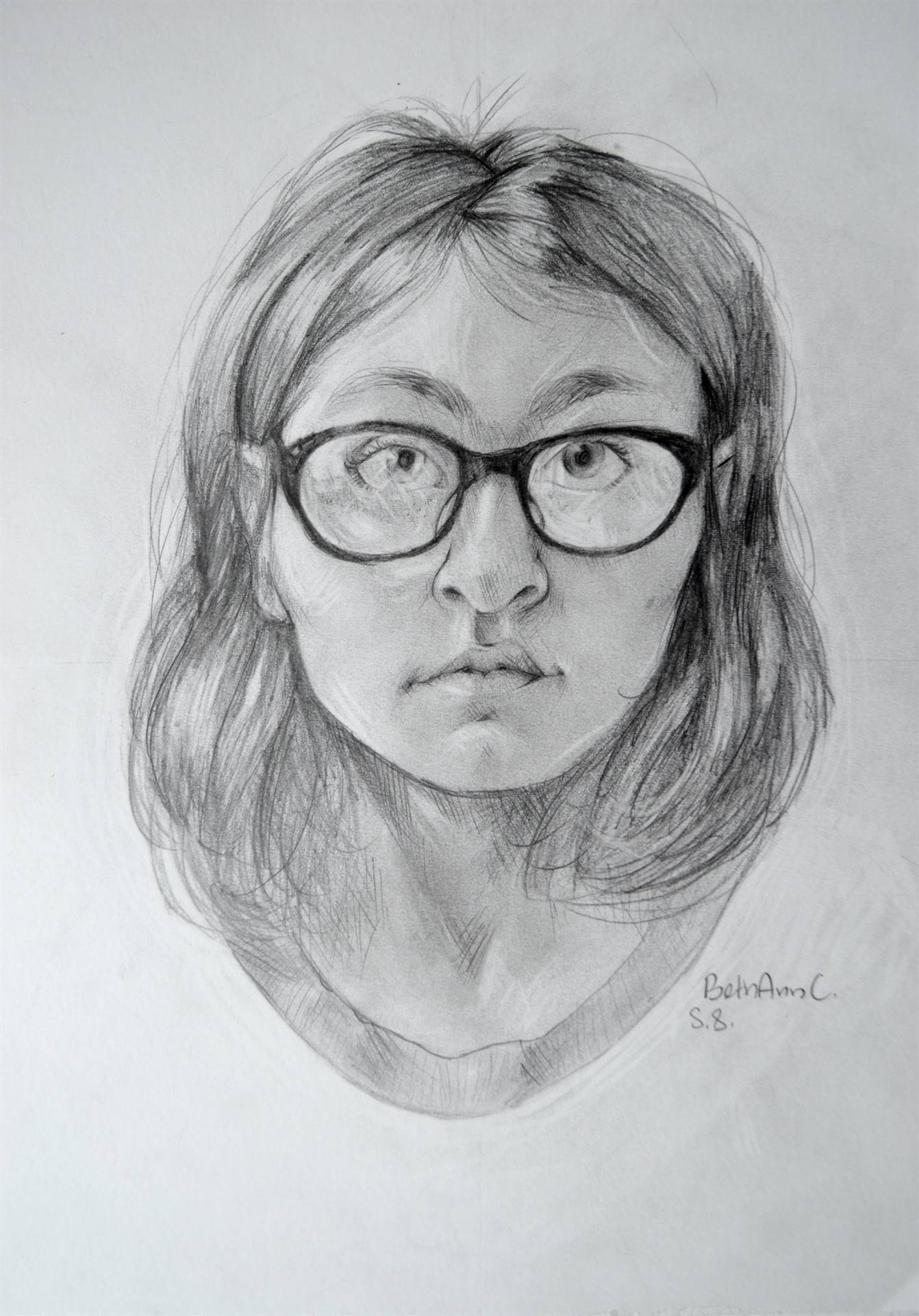 Bethann Cristantiello, Self-Portrait, graphite, 14 x 11, 2017