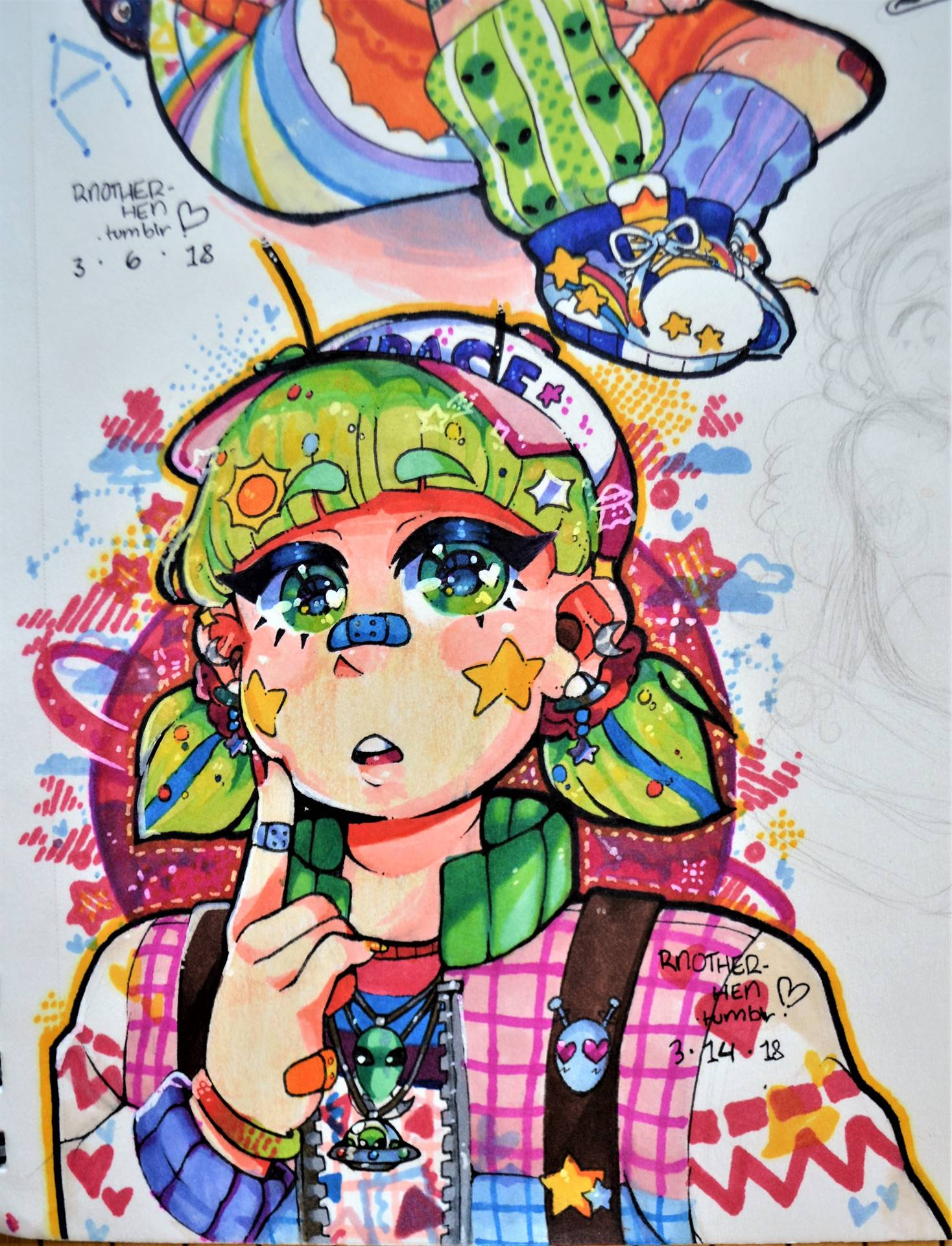 Bethann Cristantiello, Mars, ink drawing, 2018