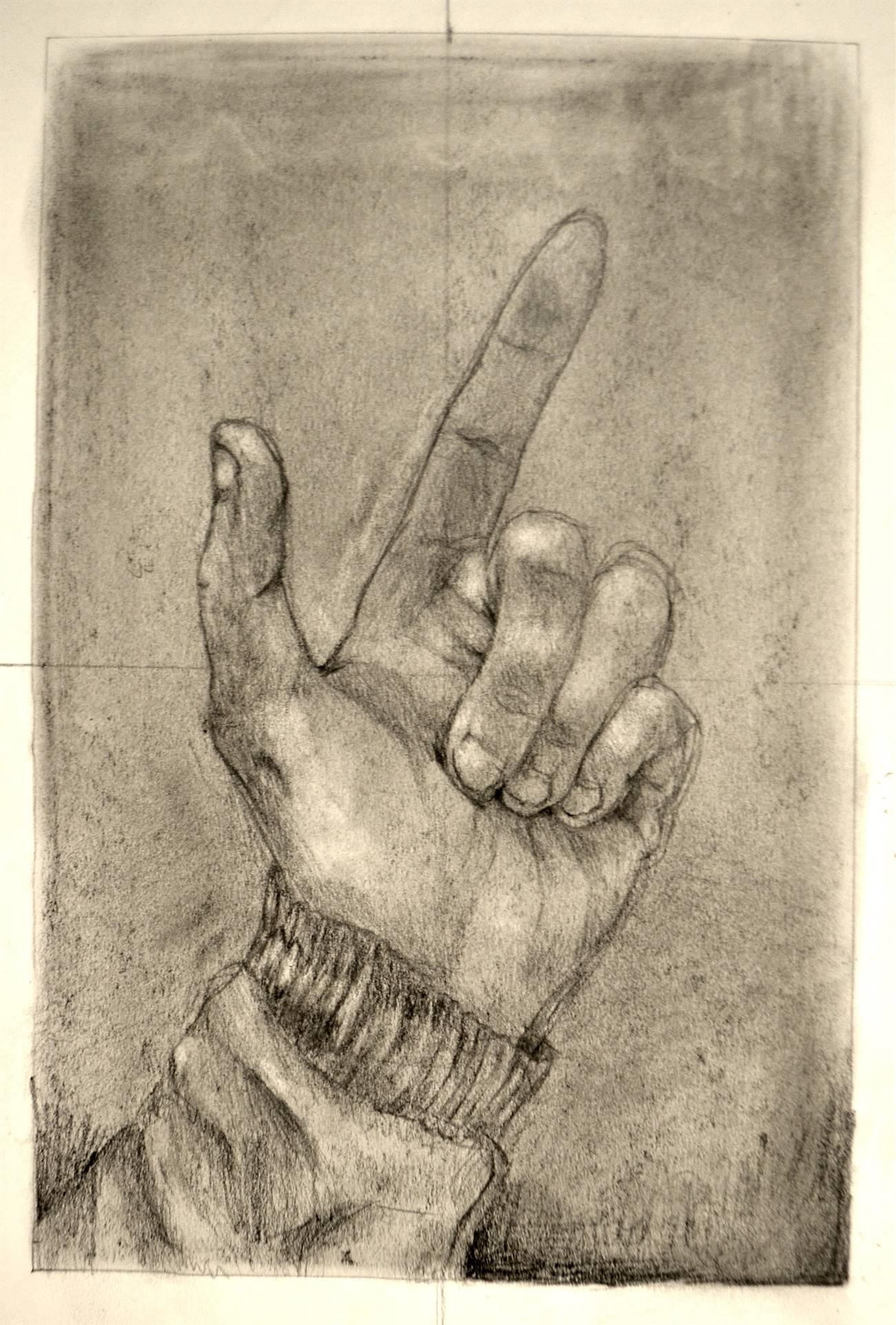 Bethann Cristantiello, modified contour of my hand, graphite, 12 x 9, 2016
