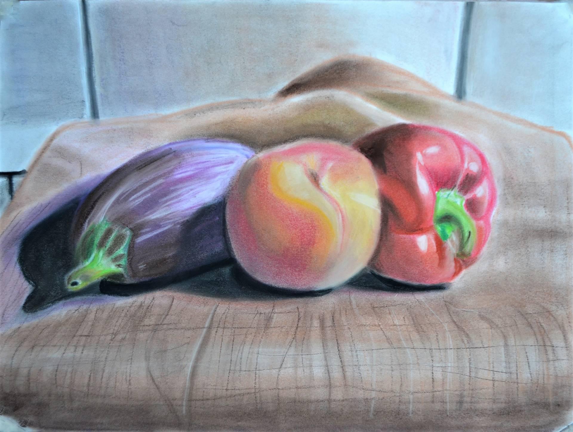 Gavin Bocanegra, Three Vegetables in Color, pastel on bristol, 19 x 24, 2017