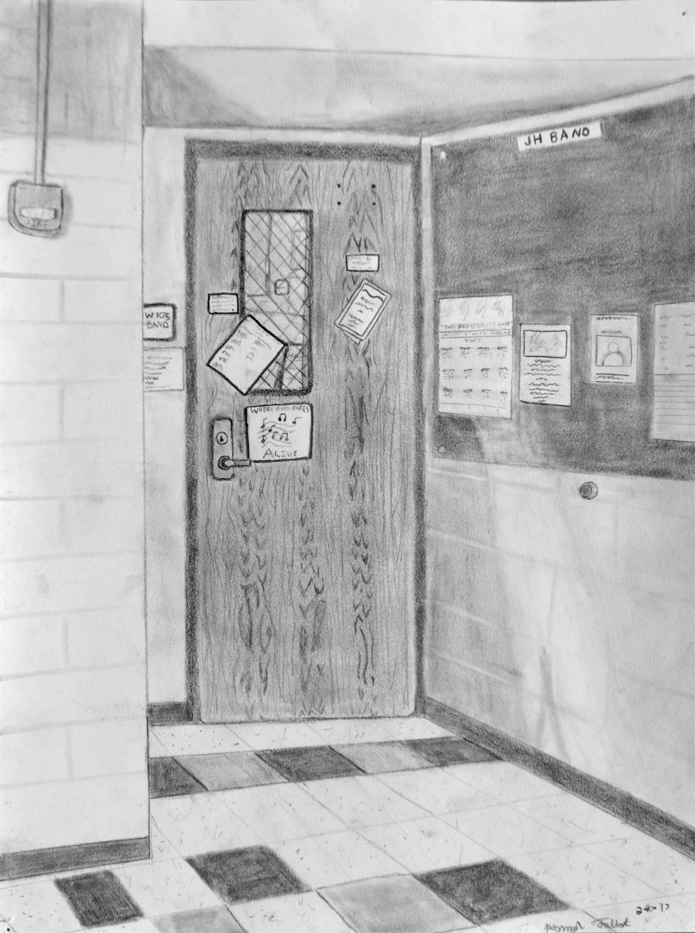 Hannah Talbot, Band Room Doorway, graphite, 12 x 9, 2017