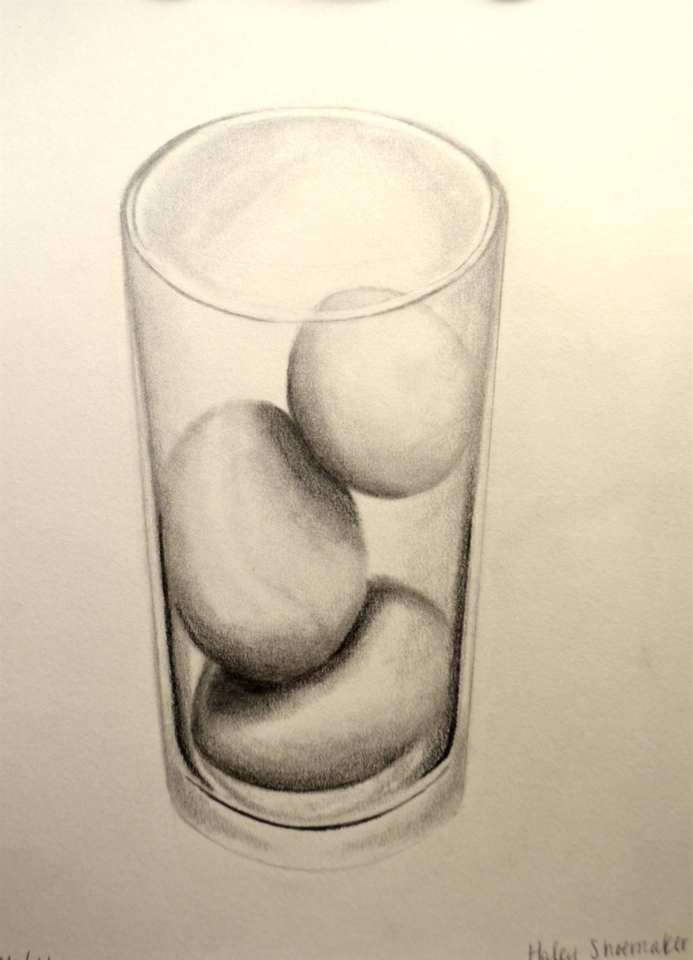 Haley Shoemaker, 3 Eggs in a Glass, graphite, 12 x 9, 20016