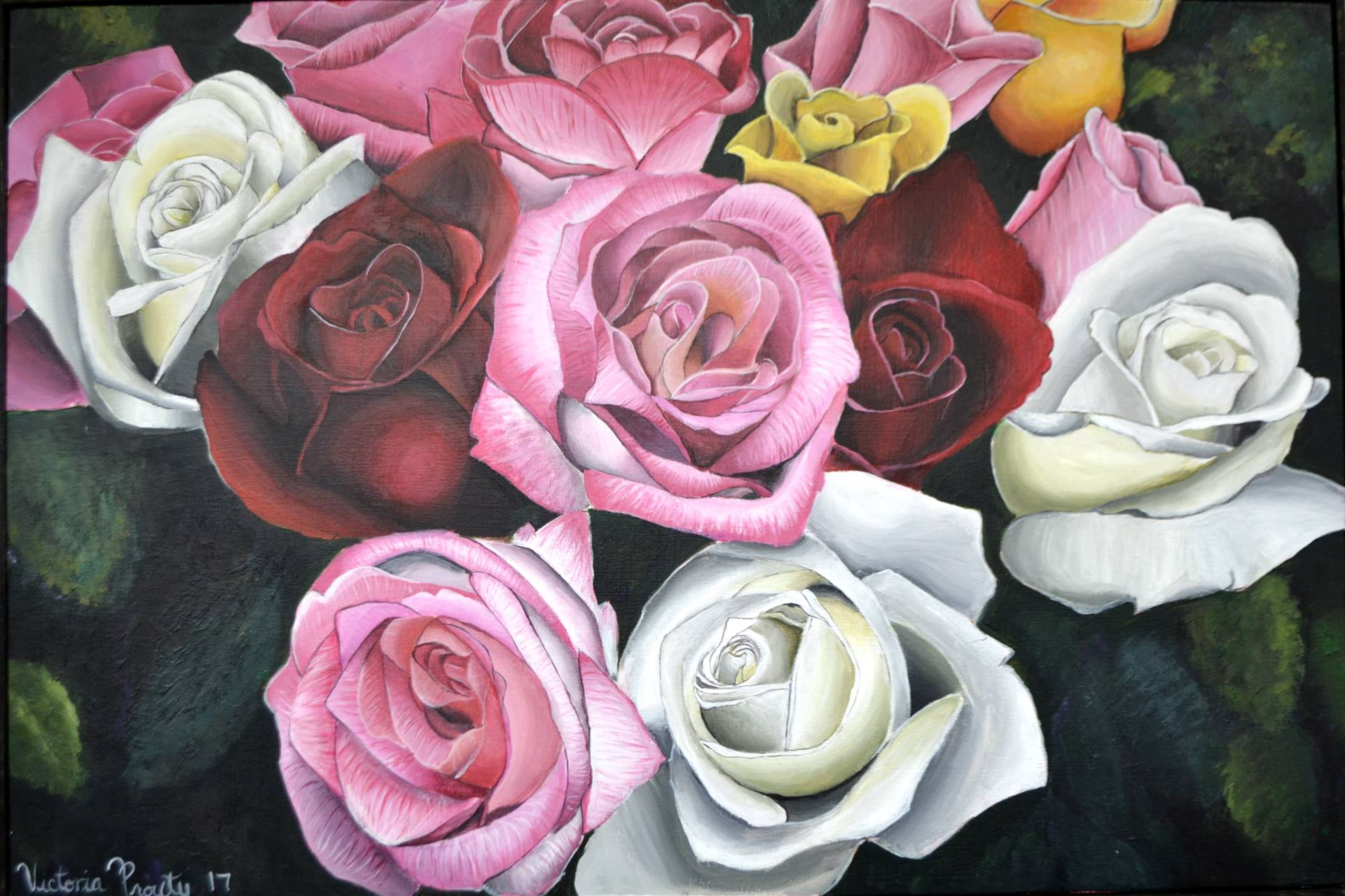 Victoria Prouty, Roses, acrylic on canvas, 24 x 36, 2017