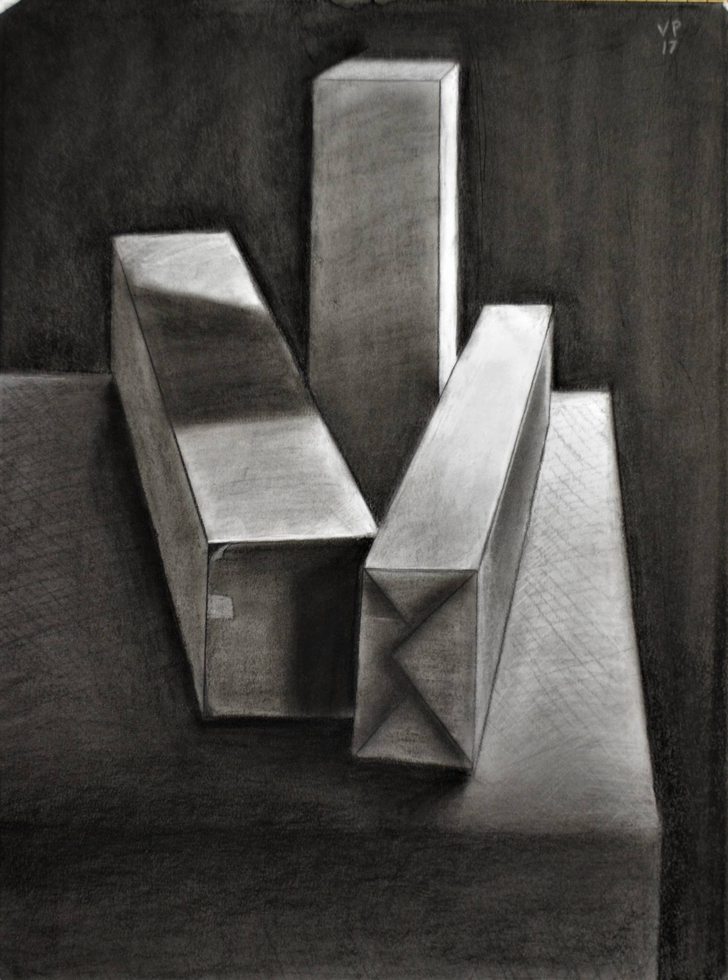 Victoria Prouty, Rectilinear Still-Life, charcoal on bristol, 24 x 18, 2017