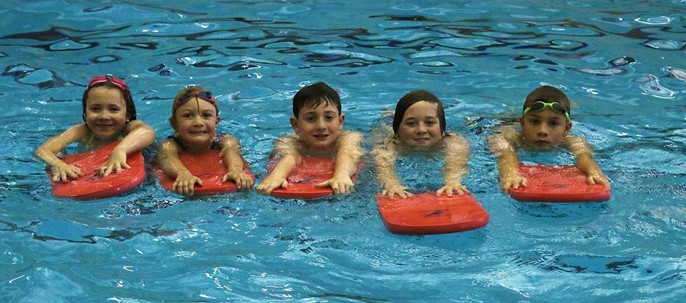 students in pool
