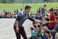 Circle of athletes during homecoming week