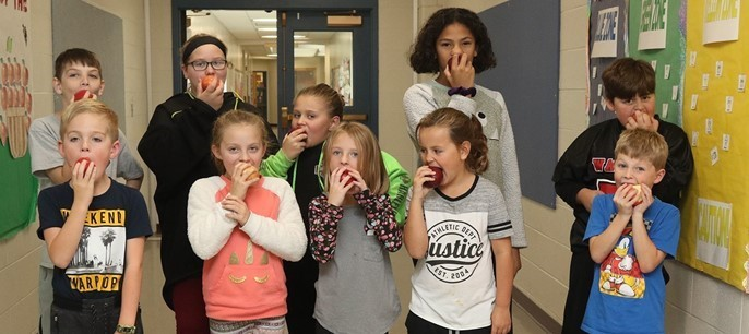 Group of students on apple crunch day