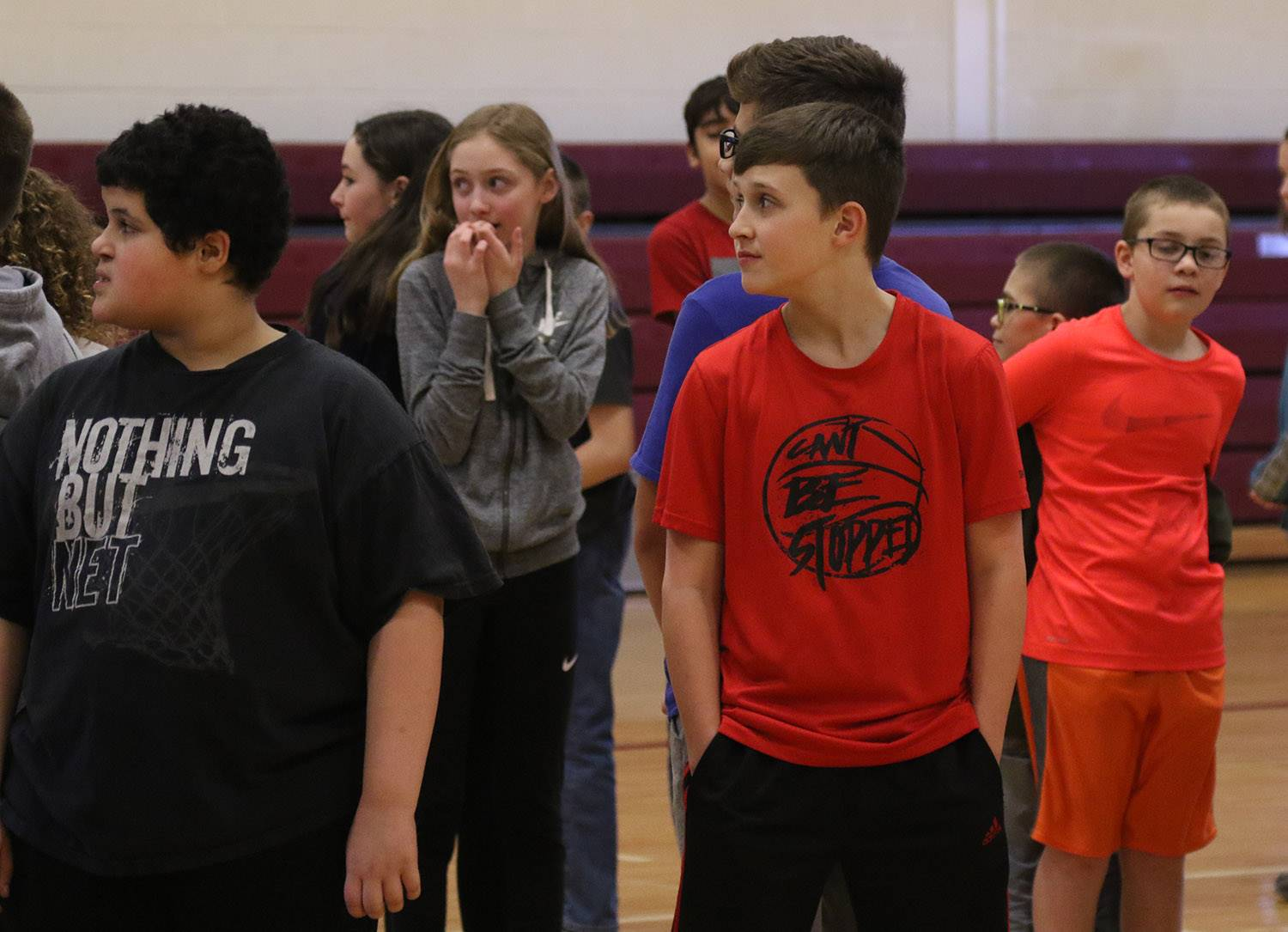 Sixth graders and SSADD members work with Team Adventure