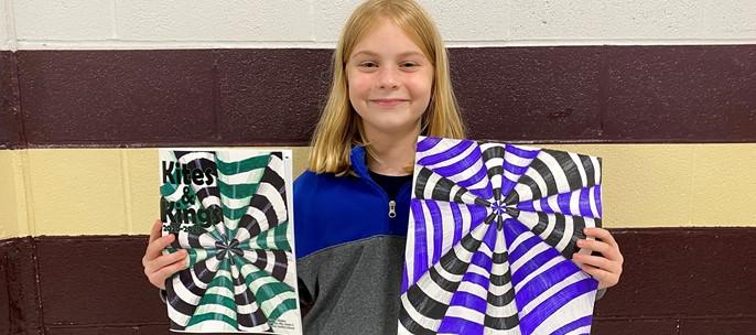 student with winning art